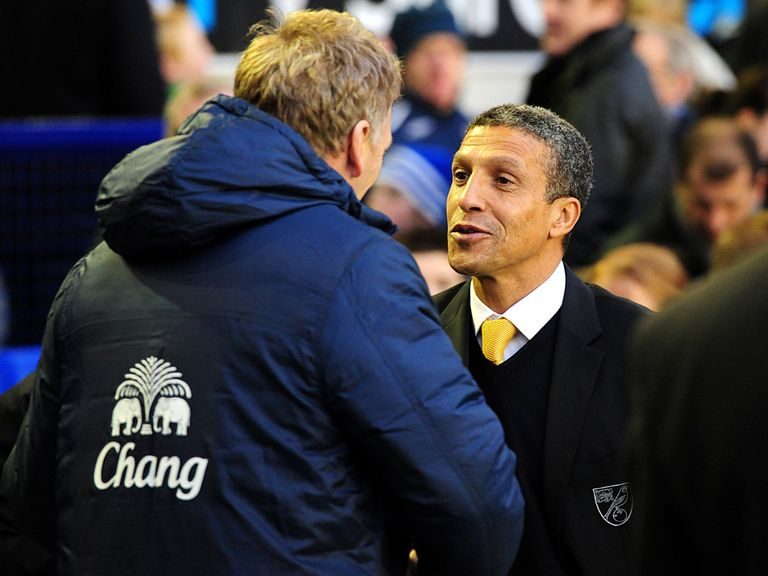 Chris Hughton: Shakes hands with David Moyes at full time