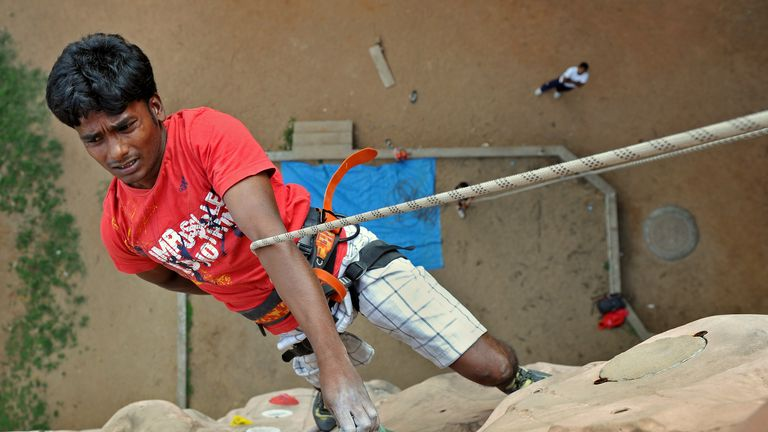 Indian para-climber Kumar Manikandan in action in Bangalore