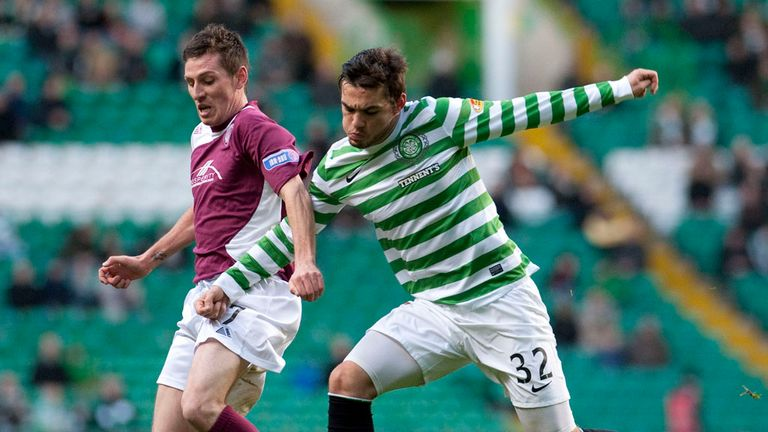 Paul Currie and Tony Watt: Battling for the ball at Parkhead