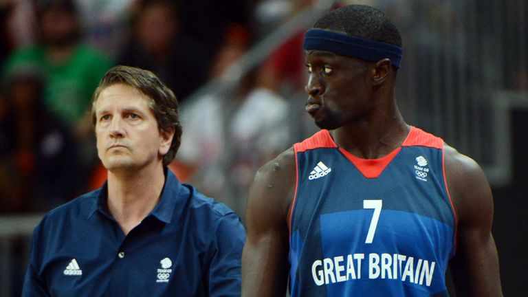 Team GB coach Chris Finch (L) and forward Pops Mensah-Bonsu