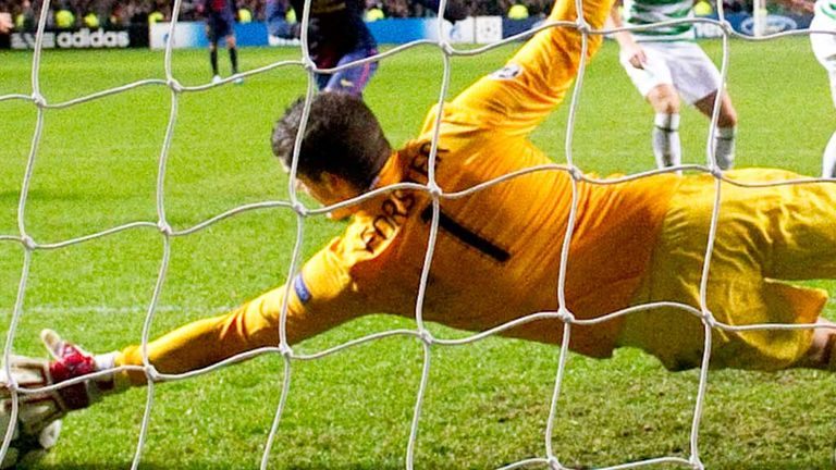 Fraser Forster: In action during Celtic's 2-1 victory over Barcelona