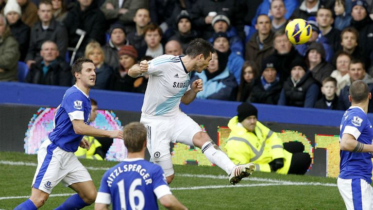 Lampard: scoring the first of his brace against Everton