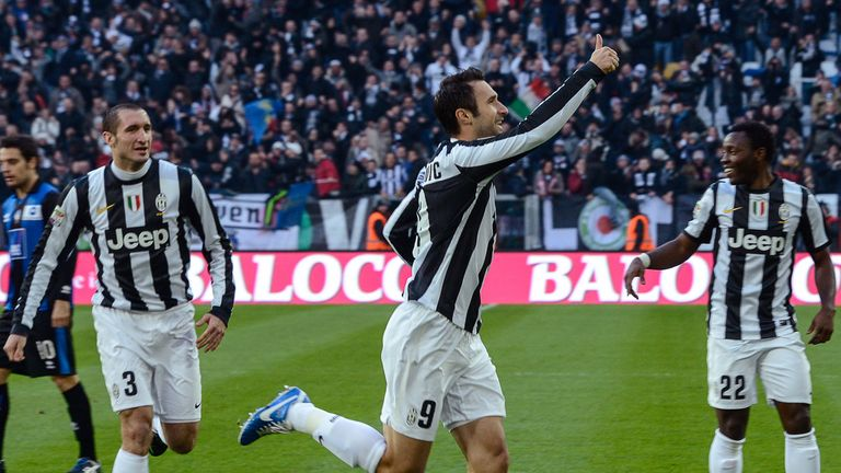 Vucinic: Celebrates goal for Juventus