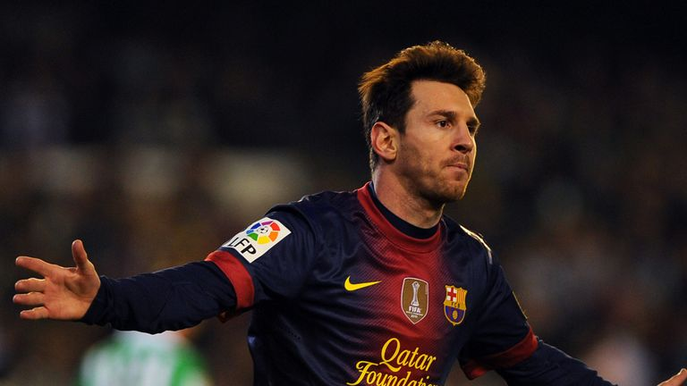 Lionel Messi: Celebrates one of his goals against Betis