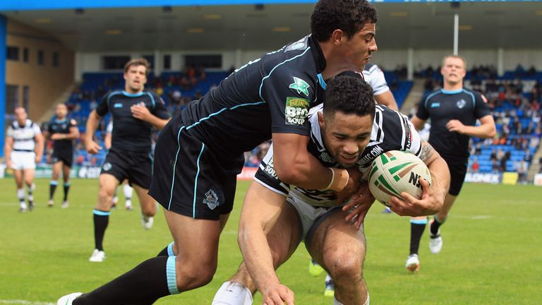 Action from the Broncos-Hull FC game at Gillingham in May