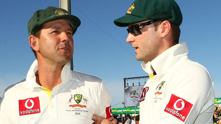 Michael Clarke with Ricky Pointing (left)