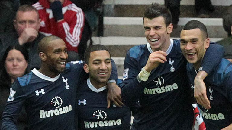 Steven Caulker (right): Celebrating with Spurs team-mates Aaron Lennon, Jermain Defoe and Gareth Bale