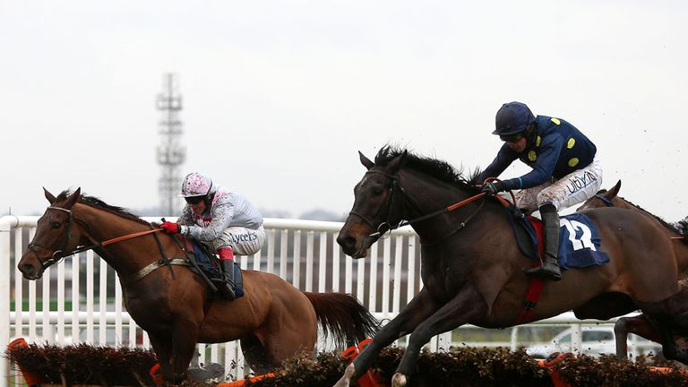 Poet (right) making a winning start at Newbury