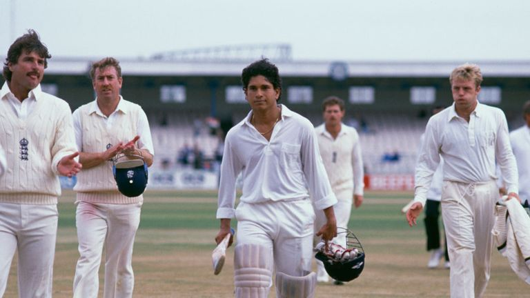 Sachin Tendulkar leaves the field after making his maiden Test century against England in 1990