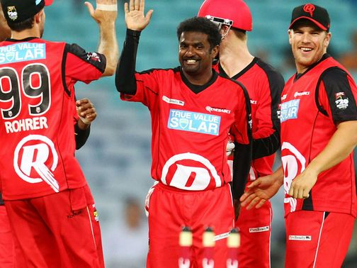 Muttiah Muralitharan celebrates a wicket for Melbourne