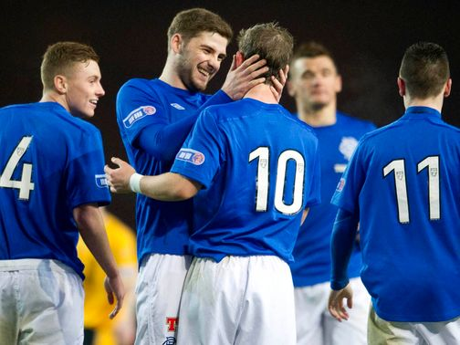 Rangers celebrate against Annan