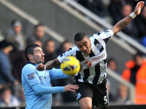 Alexandar Kolarov (left) in action at St James&#39; Park