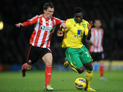 Craig Gardner and Alex Tettey tangle.