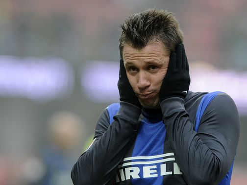 Antonio Cassano shows his frustration