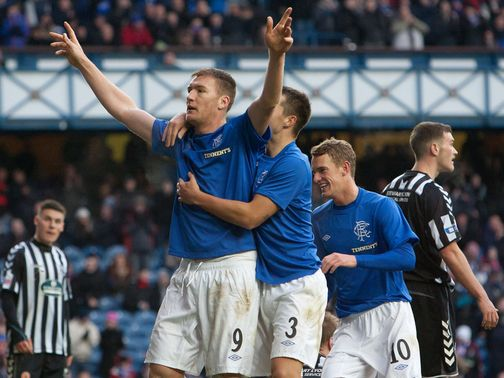 Kevin Kyle celebrates his goal on Sunday