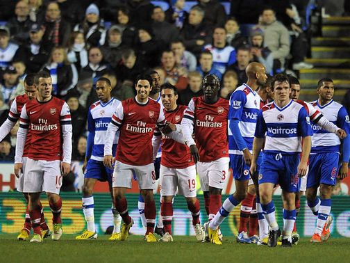 Arsenal celebrate during their win at Reading