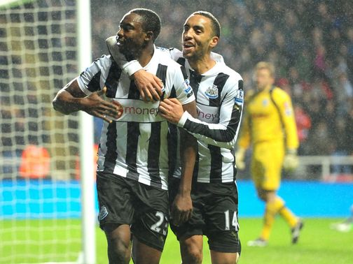 Shola Ameobi celebrates his goal