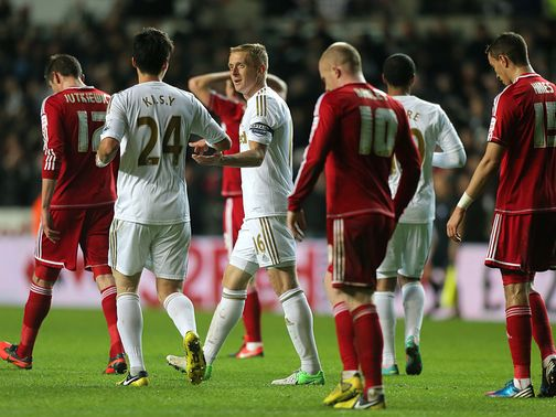 Swansea celebrate against Middlesbrough
