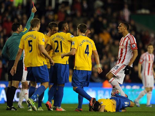 Steven Nzonzi gets his marching orders