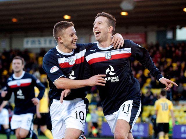 John Baird Ryan Conroy celebrate the latter's goal