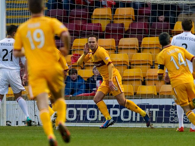 Tom Hatleley celebrates for Motherwell