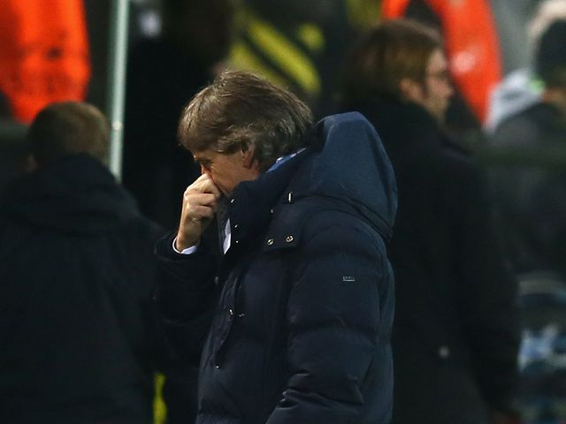 Roberto Mancini watched his side lost to Dortmund