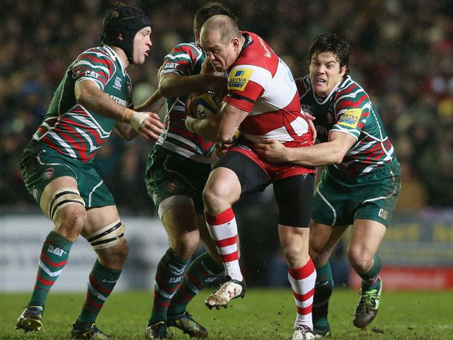 Gloucester's Mike Tindall is tackled