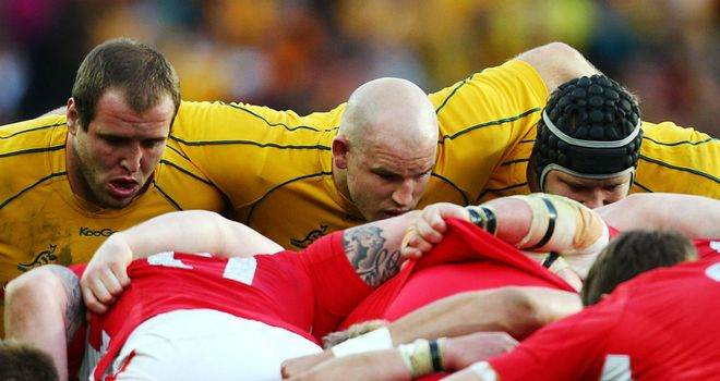 Australia's front row packs down against the Lions this summer