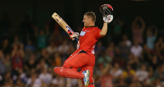 Aaron Finch: Celebrates his century