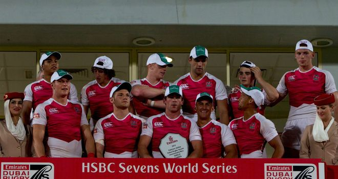 England lift the Shield at the Dubai Sevens (Photo: IRB/Martin Seras Lima)