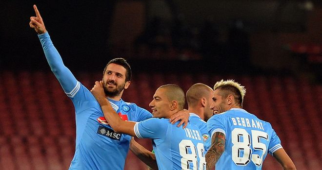 Alessandro Gamberini celebrates his Napoli equaliser