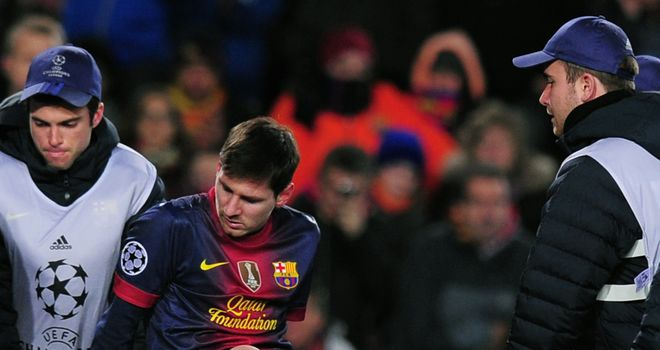 Lionel Messi: Carried off on a stretcher