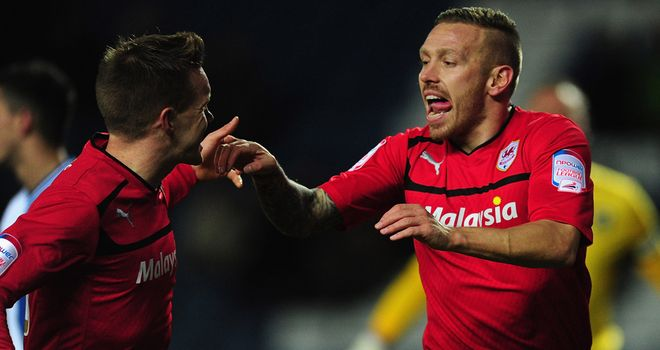 Craig Bellamy: Celebrates his strike against Blackburn at Ewood Park