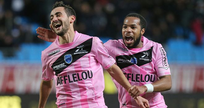 Fabien Camus celebrates his goal for Troyes