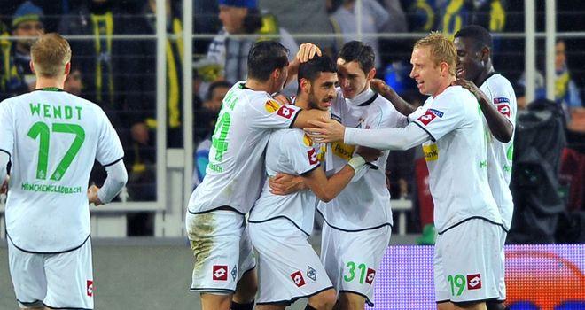 Borussia Monchengladbach celebrate at Fenerbahce