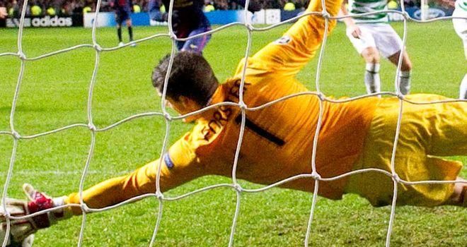Fraser Forster: In action during Celtic's 2-1 victory over Barcelona