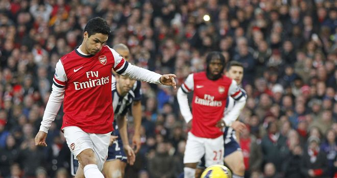 Mikel Arteta: Scores first of two penalties as Arsenal lifted the gloom with a 2-0 win over West Brom