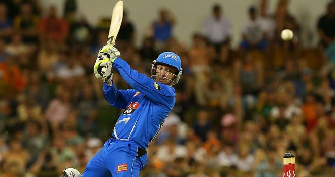 Phillip Hughes: Smashed 74 off 48 balls as Adelaide beat Perth
