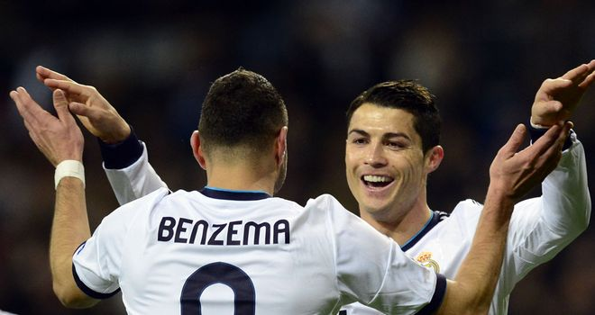 Cristiano Ronaldo celebrates with Karim Benzema following his goal