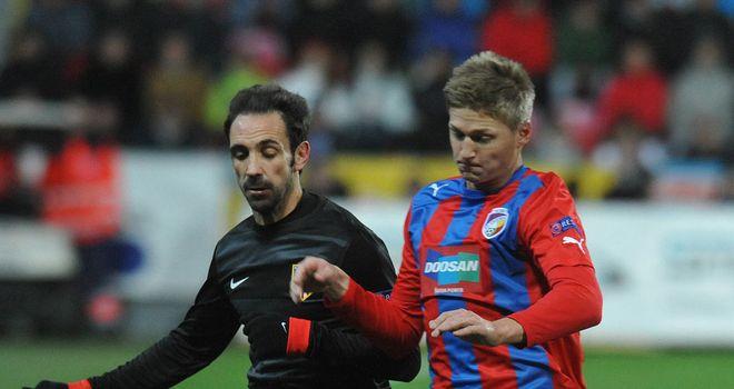 Juanfran and Vaclav Prochazka battle for the ball