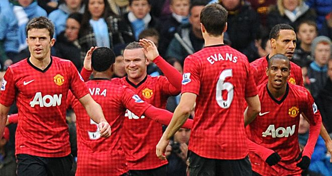 Celebration time: United were in dreamland when taking a two-goal lead in the first half