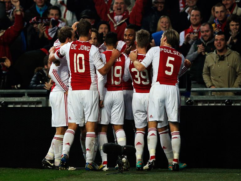 Ajax celebrate on the way to beating PSV