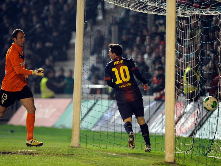 Messi celebrates scoring for Barcelona