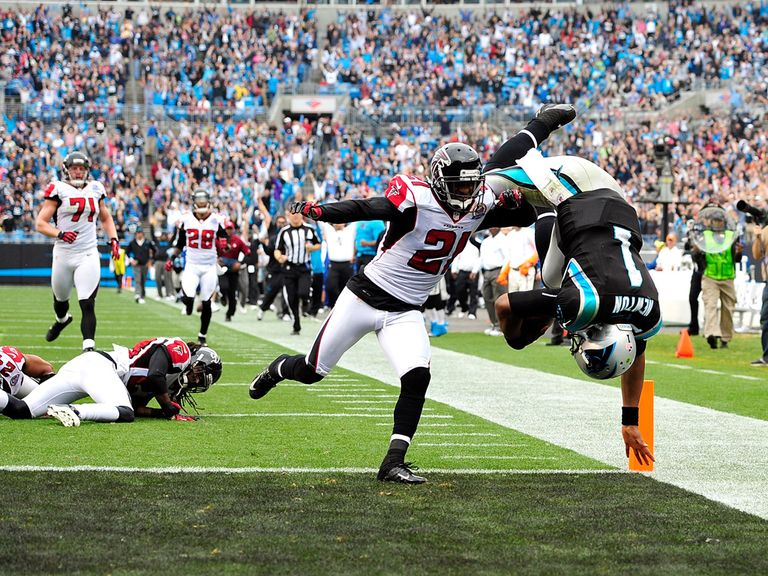 Newton makes a spectacular entrance into the end zone