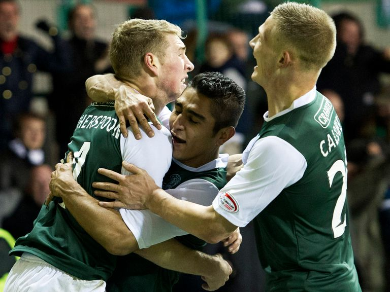 Hibernian celebrate victory against rivals Hearts.
