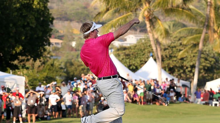Russell Henley: Celebrates a birdie at the 18th