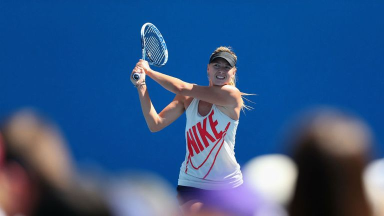 Maria Sharapova practices ahead of her semi-final clash on Thursday