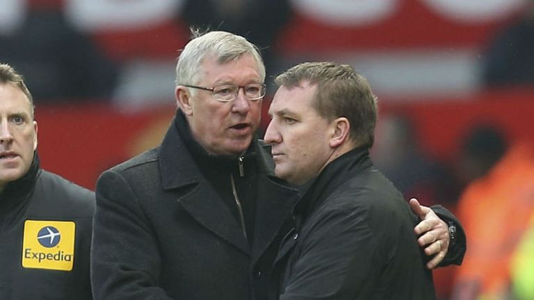 Brendan Rodgers: Liverpool boss shakes hands with Sir Alex Ferguson at end