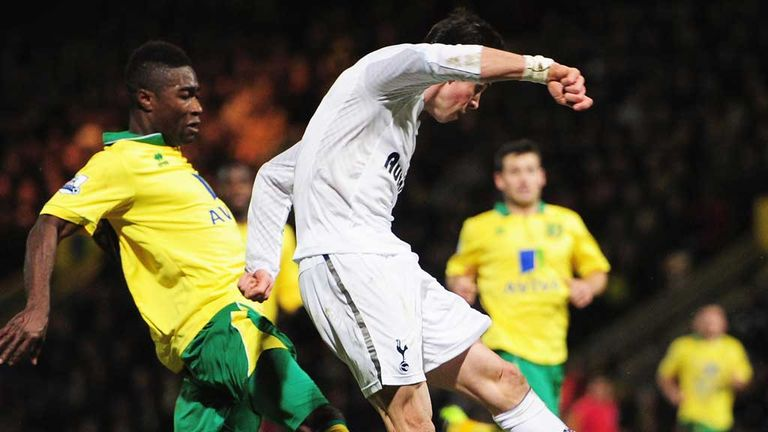 Gareth Bale: Beats the Norwich defence to score the leveller