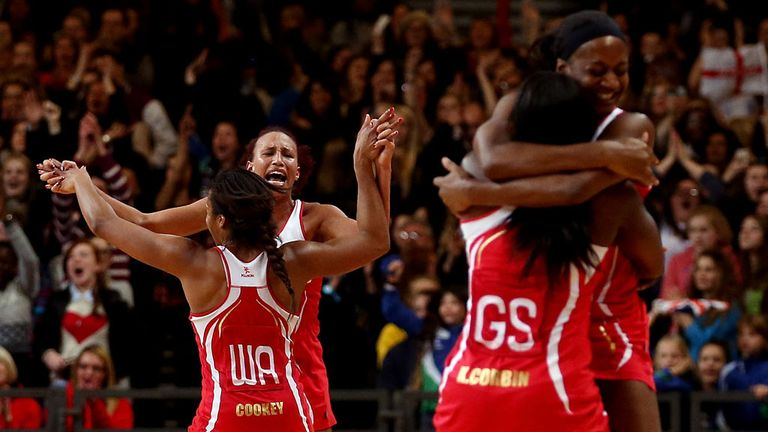 England's players celebrate taking an unassailable lead in the International Netball Series